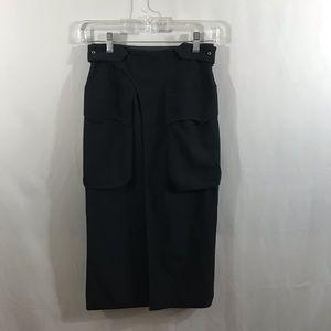 Jean Paul Gaultier Femme Wool Wrap Pencil Skirt